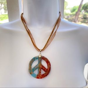 Glass peace sign necklace ribbon cord choker